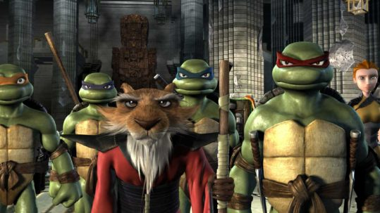 "(L-r) Michelangelo, Donatello, Splinter, Leonardo, Raphael, April O'Neil and Casey Jones in Warner Bros. Pictures' and The Weinstein Company's ""TMNT,"" distributed by Warner Bros. Pictures. PHOTOGRAPHS TO BE USED SOLELY FOR ADVERTISING, PROMOTION, PUBLICITY OR REVIEWS OF THIS SPECIFIC MOTION PICTURE AND TO REMAIN THE PROPERTY OF THE STUDIO. NOT FOR SALE OR REDISTRIBUTION"